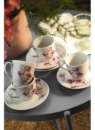 Kütahya Porselen Yasemin 10888 Desen Kahve Fincan Takımı Renkli